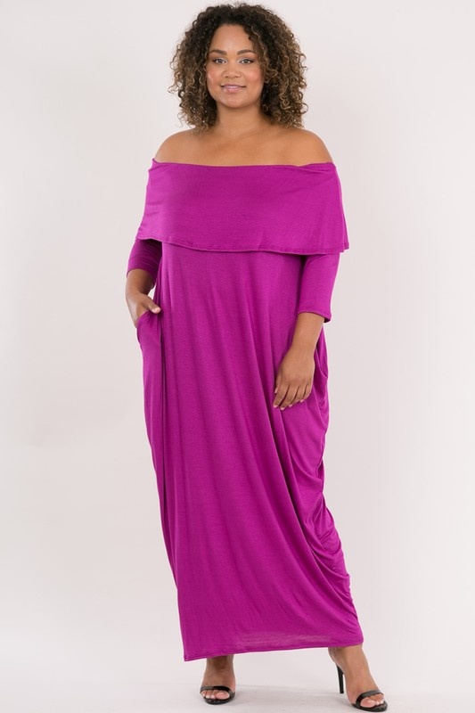Plus Size Off Shoulder Mid Length Dress Double Take Fashions
